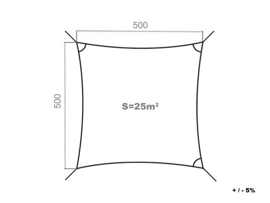 voile d 39 ombrage r sistante au vent 280g m2 carr 5 x 5. Black Bedroom Furniture Sets. Home Design Ideas