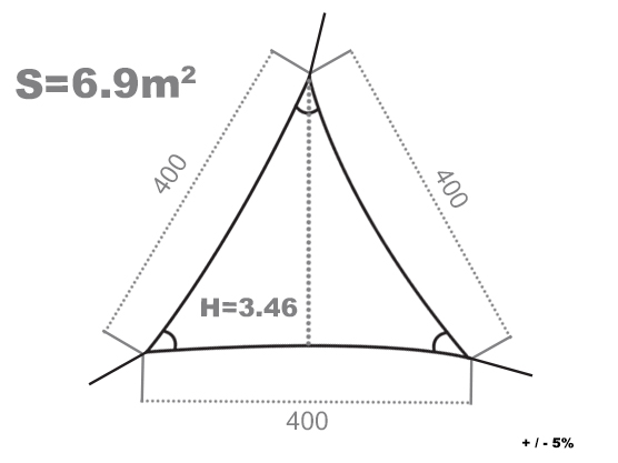 Voile d'ombrage triangulaire côté store